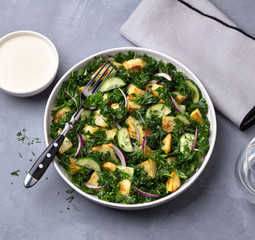 Kale cabbage salad with baked potatoes, cucumber, red onions and mustard yogurt sauce on gray texture background, top view