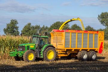 John Deere 6930 tractor and John Deere 7480i Forage Harvester at work in The Netherlands on September, 2016