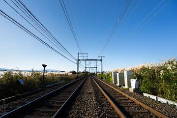Montage in der Fensternische Eisenbahnschienen 鉄道 Train line