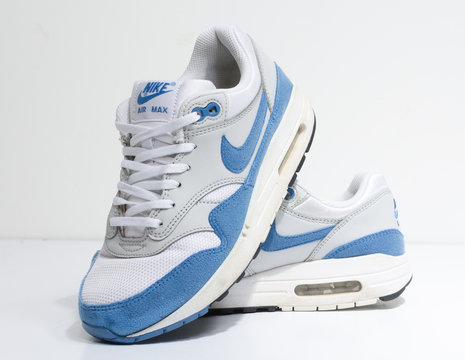 london, englabnd, 05/08/2018 Nike Air max 1 , White and light blue.  Nike air max retro classic sneaker trainers. Nike sport and street wear fashionable athletic apparel. Isolated nikes.