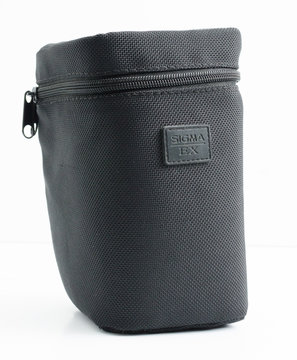 london, england, 05/05/2018 A black sigma lens protector and carry case for nikon glass lenses. strong material equipment protection for photographers on the move. waterproof camera gear.