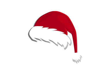Vector image of a hat of Santa Claus (gnome, elf). Icon. New Year Christmas.