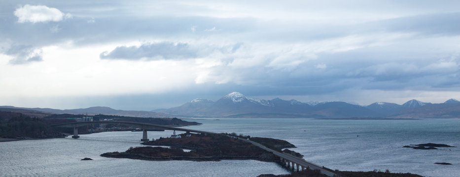 The road bridge to the Isle of Skye in the Winter at Kyle of Lochalsh, Scotland, UK