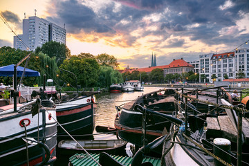 Historic harbor during dramatic sunset  in Berlin, Germany
