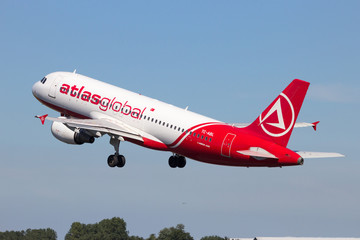 AtlasGlobal Airlines Airbus A320 take-off from Amsterdam Schiphol airport in The Netherlands on August 17, 2016