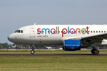 Small Planet Airlines Airbus A320 take-off from Amsterdam Schiphol airport in The Netherlands on August 17, 2016