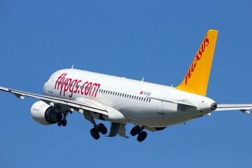 Pegasus Airlines Airbus A320 take-off from Amsterdam Schiphol airport in The Netherlands on August 17, 2016
