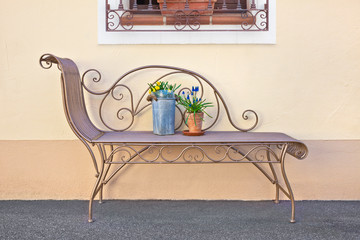 Beautiful house decoration with a lounger and flowers