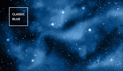 cosmic space in blue light and many stars, classic blue, pantone color of the year 2020