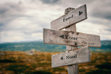 Feed your soul text on wooden rustic signpost outdoors in nature/mountain scenery. Meditation, wellness, positive concept.