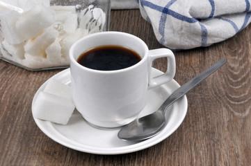 Tasse de café et sucre