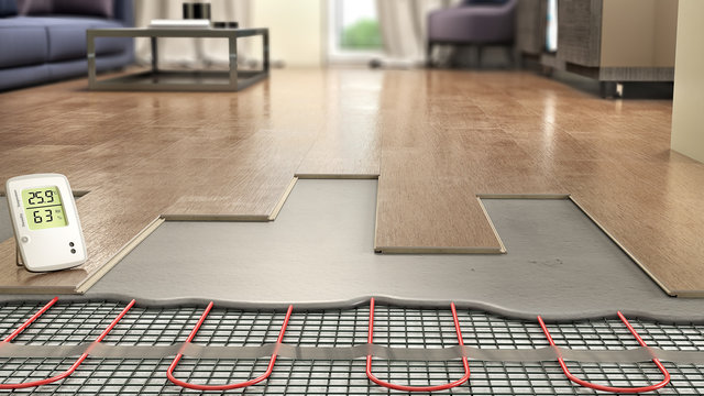 Process of laying laminate panels on floor with underfloor heating, 3d illustration