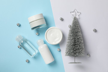Foto op Plexiglas Spa Set cosmetics, jar of winter cream for skin on two tone background, space for text. Top view