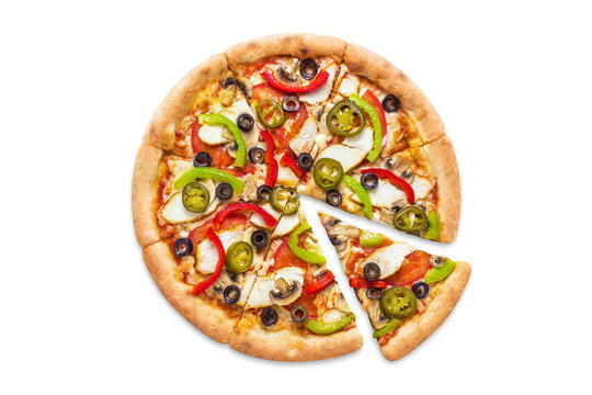 Delicious pizza with chicken fillet, champignon mushrooms, tomatoes, peppers, jalapeno and mozzarella, isolated on white background