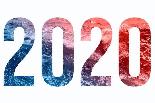 2020 isolated numbers with blue and coral sea texture.