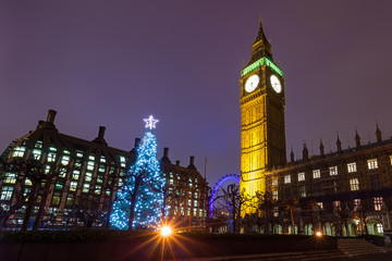 Nighttime View of the Christmas Tree Outside the Palace of Westminster in London, England.