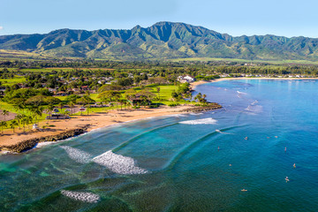 Aerial view of Oahu's iconic North Shore