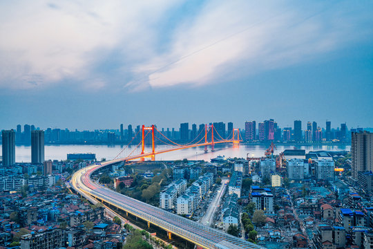 Yangtze River Parrot Island Yangtze River Bridge in Wuhan, China