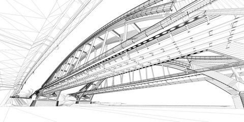 The BIM model of the bridges of wireframe view