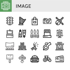 Set of image icons such as Email, Traffic lights, Harp, Shopping bag, Camera, Violin, Scanner, Flippers, Syringe, Fountain, Panorama, Boxes, Skateboard, Whistle, Museum , image