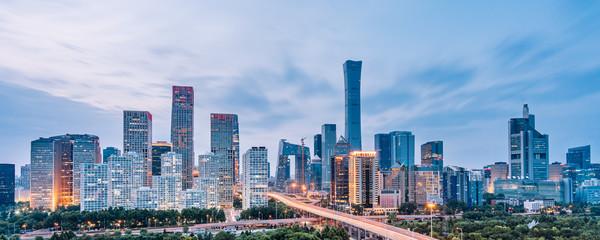 Dusk view of CBD skyline in Beijing, China