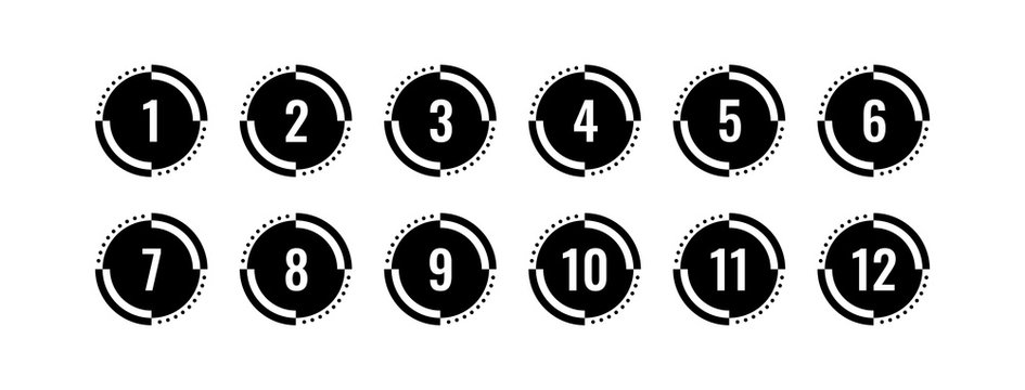 round buttons and numbers. 1-12 numbers. numbers in circle. twelve step numbers