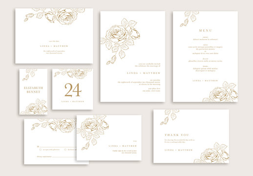 Elegant Wedding Suite Layout with Rose Illustrations
