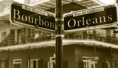 Corner of Bourbon Street in New Orleans French Quarter
