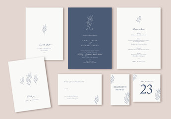 Minimalist Wedding Suite Layout with Leaf Illustrations