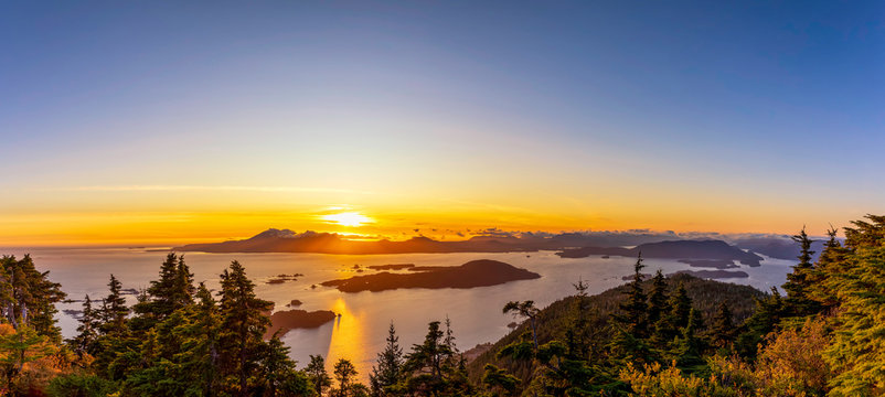 Panoramic Sunset over Ocean, Islands, from view