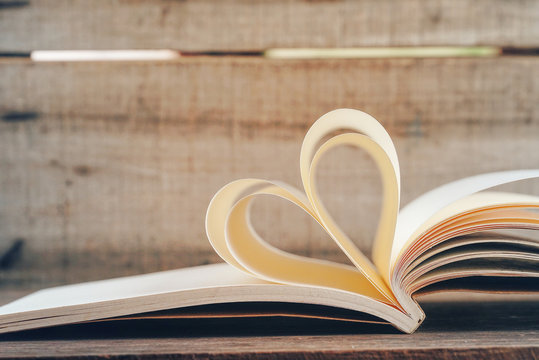Shape heart create from book page,love concept.
