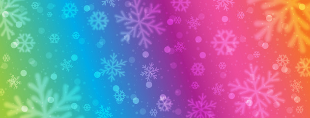 Wall Mural - Rainbow colored christmas banner with blurred snowflakes. Merry Christmas and Happy New Year greeting banner. Horizontal new year background, headers, posters, cards, website. Vector illustration