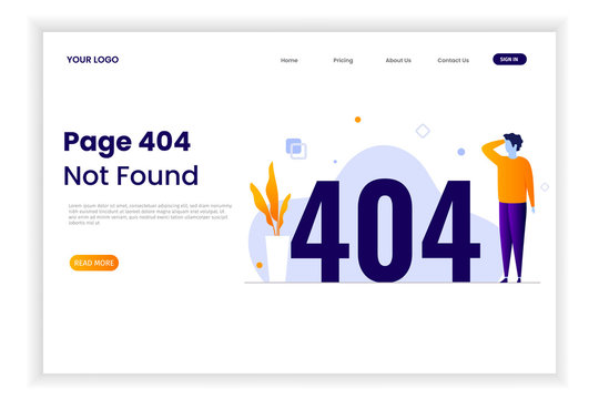 Page 404 error illustration with people. That design can be used for websites, landing pages, UI, mobile applications, posters, banner