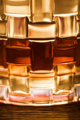 Close up view of brandy in glass on wooden table