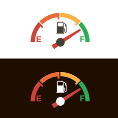 gasoline fuel gauge and pump nozzle icon isolated on black and white background
