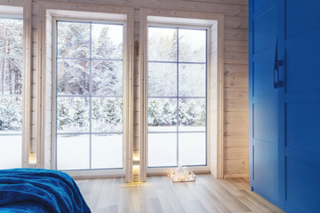 Bright interior, room in wooden house with large window. Scandinavian style. color of the year 2020...