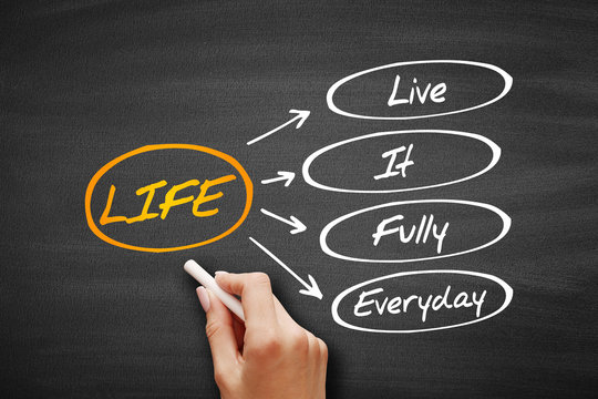 LIFE - Live It Fully Everyday, acronym business concept on blackboard