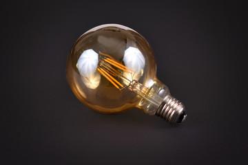 Big round LED light bulb on black background