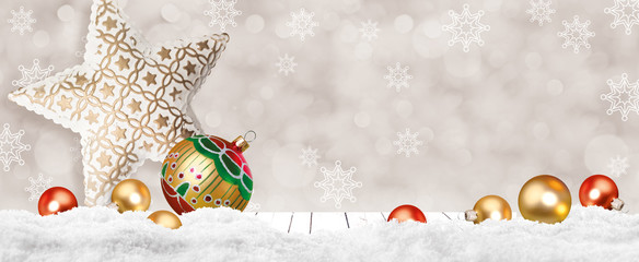 Merry christmas background with golden balls and silver star