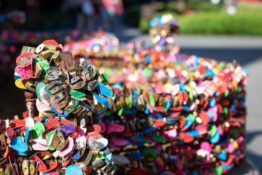 colorful lockers on a fountain in gramado
