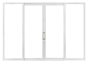 Fototapeta PVC sliding glass door isolated on white background, real interior clear window pane frame element for front store office design obraz