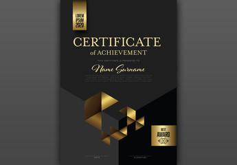 Golden Black Certificate Layout