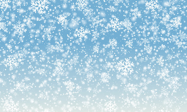 Snowflake background. Falling snow. Vector