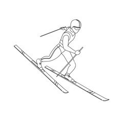 Winter sports - skiing. Outlined cartoon skier running downhill. 3D isometric vector athlete isolated on white background.