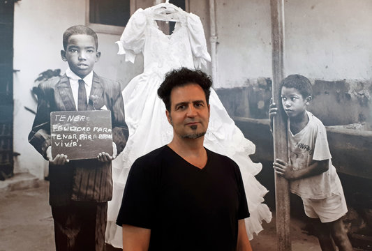 "Argentinian photographer Weber talks to Reuters about his last exhibition ""Mapa de suenos latinoamericanos"", in Buenos Aires"