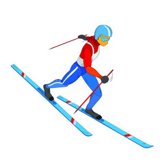 Winter sports - skiing. Hand drawn athlete in red, white and blue - colors of Russia, USA, France. Cartoon skier running downhill. 3D isometric vector clip art isolated on white background.