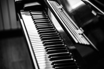 Piano beyboard close up. Music concept. Black and white image