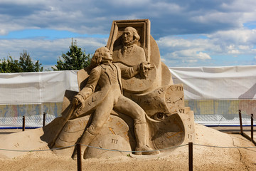 "KOLOMENSKOYE,MOSCOW,RUSSIA-AUGUST 2, 2015:""Masterpieces of world literature"". The exhibition of sand sculptures.""Portrait of Dorian Gray"" Oscar Wilde, author Ivan Savenkov, Russia"