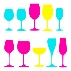 Vector colorful set that includes different kinds of wine glasses