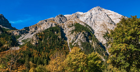 Beautiful alpine autumn or indian summer view at the famous Big Maple Ground, Tyrol, Austria